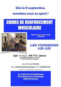 Affiche Cours de renforcement Musculaire Saison 2017-2018 VENDREDI Kiné - copie
