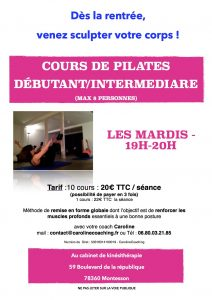 Affiche cours de pilates public débutant Saison 2017 - 2018 - copie